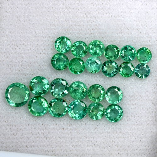 6.43 Cts Natural Fine Emerald Untreated Gemstone Round Cut 3.7 upto 5.7 mm Zambia