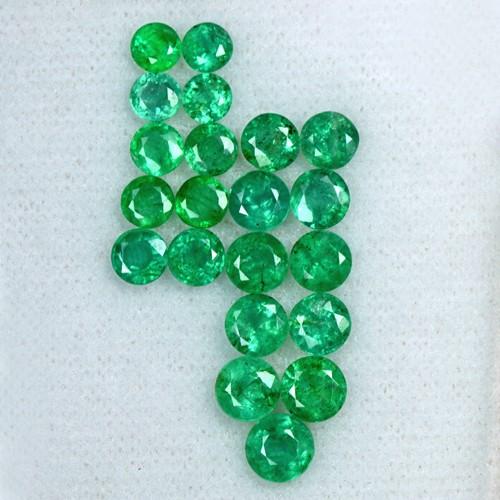 6.86 Cts Natural Fine Green Emerald Loose Gemstone 21 Pcs Round Cut Lot Zambia