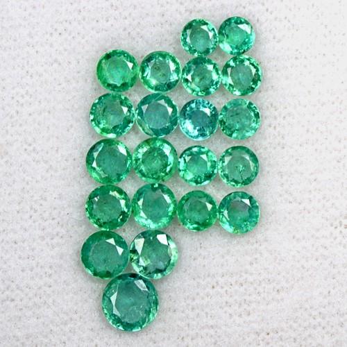 5.88 Cts Natural Fine Green Emerald Loose Gemstone 21 Pcs Round Cut Lot Zambia