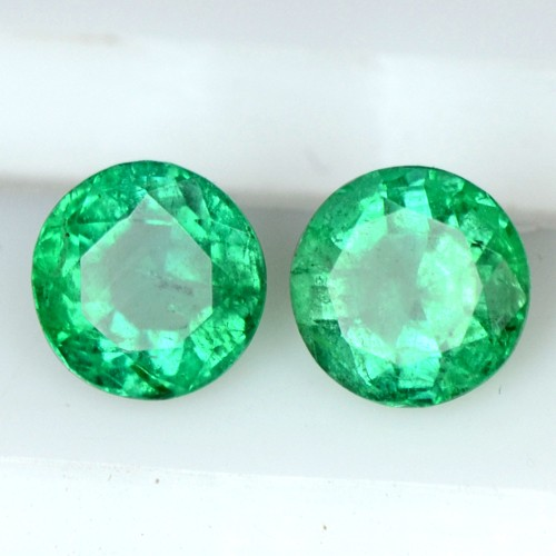 0.52 Cts Natural Top Green Emerald Zambia Round Cut Pair 4 mm Gemstone Untreated