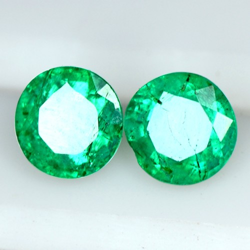 0.83 Cts Natural Green Emerald Zambia Round Cut Pair 4.5 mm Gemstone Untreated