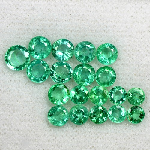 6.65 Cts Natural Emerald Loose Gemston 23 Pcs 3.5 upto 5 mm Round Cut Lot Zambia