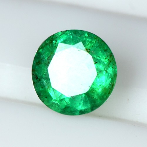 0.65 Cts Natural Amazing Rich Green Emerald Zambia Round Cut Untreated Gemstone