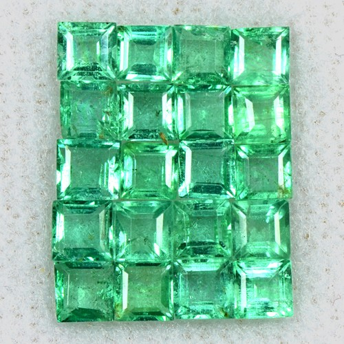 3.02 Cts Natural Green Emerald Top Untreated Gemstone Square Cut Lot 3 mm Zambia