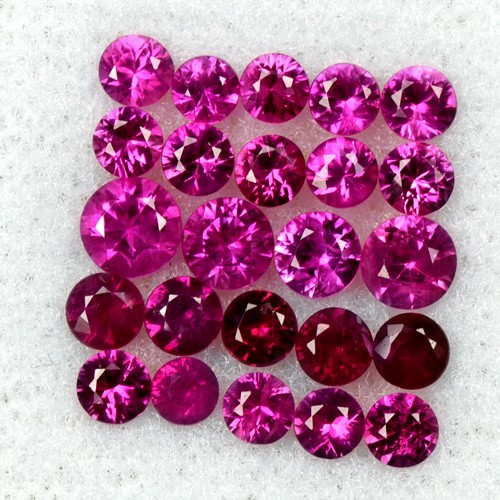 2.40 Cts Natural Red Ruby Round Diamond Cut Lot 2.5 upto 3.5 mm Loose Oldmogok