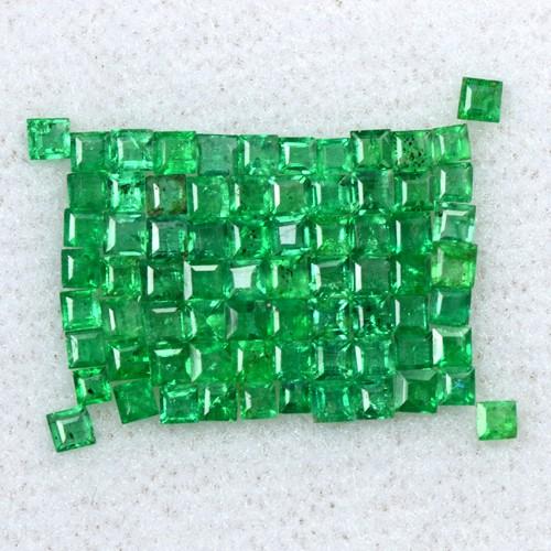 2.17 Cts Natural Top Emerald Loose Gemstone 1.5 upto 2 mm Square Cut Lot Zambia