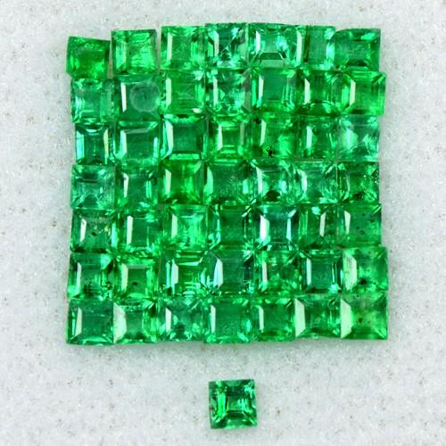 2.03 Cts Natural Top Emerald Loose Gemstone 2 mm 50 Pcs Square Cut Lot Zambia