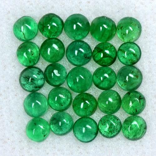 3.21 Cts Natural 3 mm Emerald Loose Gemstone 25 Pcs Round Cabochon Lot Zambia