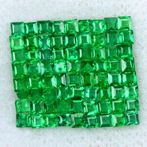 1.49 Cts Natural 1.5 mm Emerald Top Loose Gemstone 72 Pcs Square Cut Lot Zambia