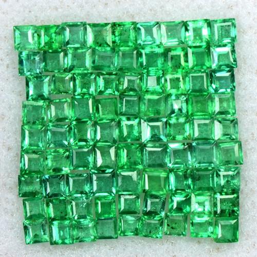 2.26 Cts Natural 1.5 upto 2 mm Emerald Top Loose Gemstone Square Cut Lot Zambia