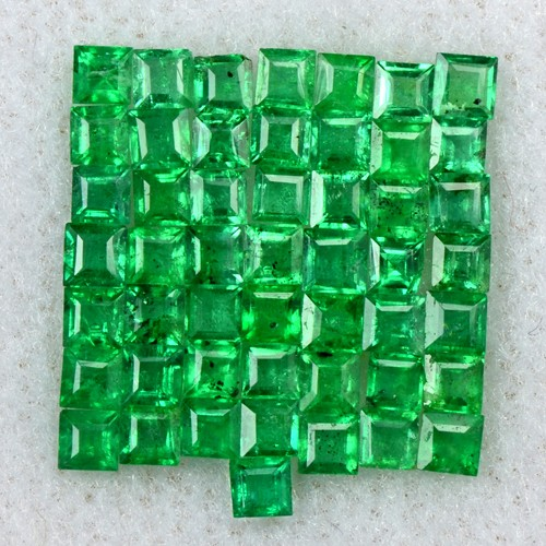 2.12 Cts Natural 50 Pcs 2 mm Emerald Lovely Loose Gemstone Square Cut Lot Zambia