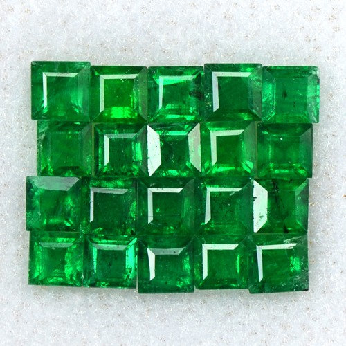 1.81 Cts Natural Rich Green 2.5 mm Emerald Loose Gemstone Square Cut Lot Zambia