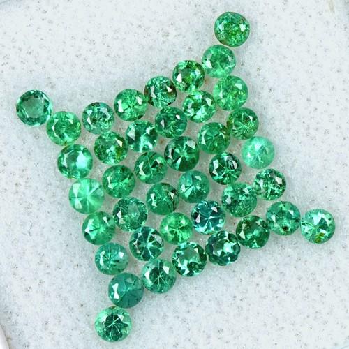 2.26 Cts Natural 2.5 mm Amazing Emerald Gemstone Round Diamond Cut Lot Zambia