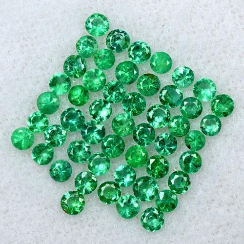2.38 Cts Natural 2.5 mm Amazing Emerald Gemstone Round Diamond Cut Lot Zambia