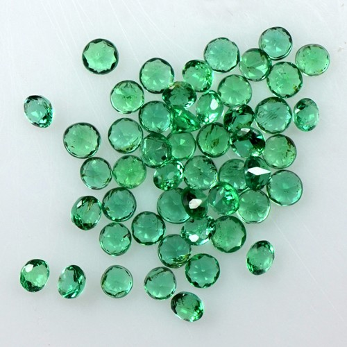 1.75 Cts Natural 2 mm Top Emerald 50 Pcs Gemstone Round Diamond Cut Lot Zambia