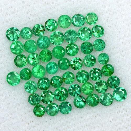 2.68 Cts Natural 2.5 mm Emerald 50 Pcs Gemstone Top Round Diamond Cut Lot Zambia