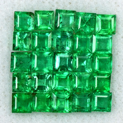 3.69 Cts Natural 3 mm Emerald 25 Pcs Gemstone Top Green Square Cut Lot Zambia
