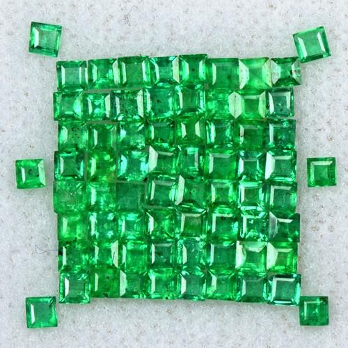 2.19 Cts Natural 1.5 upto 2 mm Emerald Gemstone Top Green Square Cut Lot Zambia