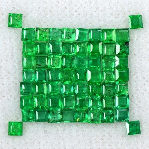 2.47 Cts Natural 2 mm Emerald Amazing Gemstone Top Green Square Cut Lot Zambia