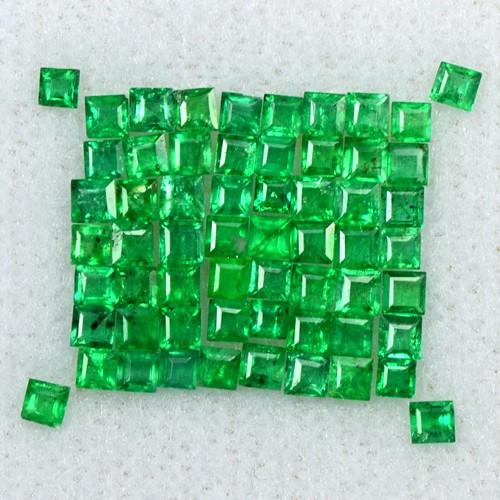2.03 Cts Natural 1.5 upto 2 mm Emerald Gemstone Top Green Square Cut Lot Zambia