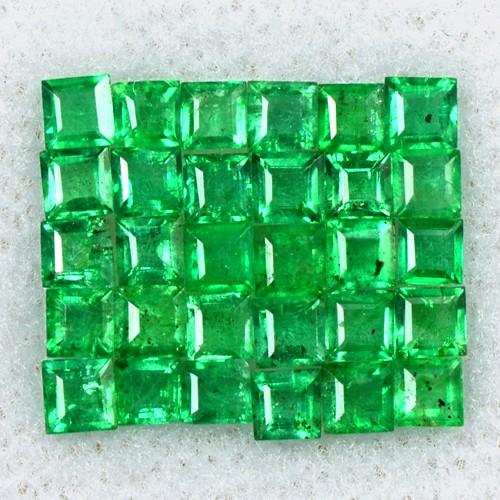 1.66 Cts Natural 2 mm Emerald Amazing Gemstone Top Green Square Cut Lot Zambia