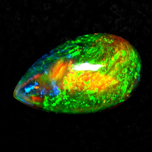 5.22 Cts Natural Ethiopian Opal Pear Cabochon Blasting Fire Top Color Gemstone