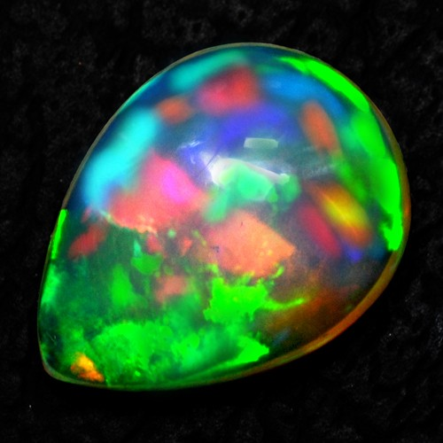 4.85 Cts Natural Ethiopian Opal Pear Cabochon Blasting Rainbow Color Gemstone