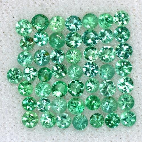 2.96 Cts Natural Top Emerald Loose Gemstone Diamond Round Cut 2.5 mm Lot Zambia
