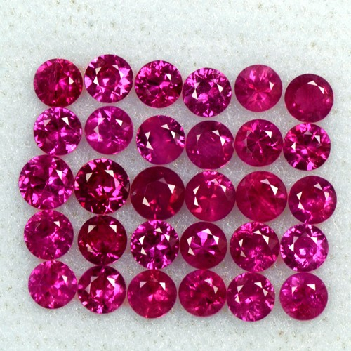 3.57 Cts Natural Ruby Diamond Round Cut Lot 3 mm Oldmogok 20 Pcs Loose Gemstone