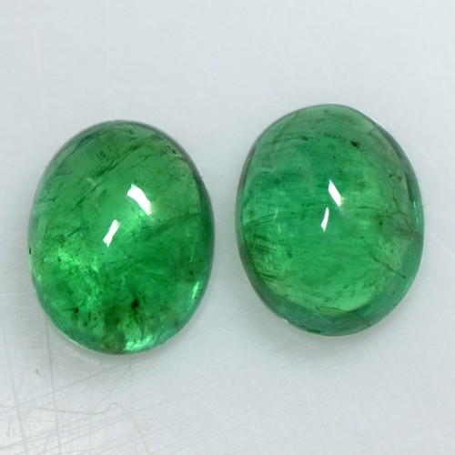 5.92 Cts Natural Green Emerald Loose Gemstone Oval Cabochon Pair 10x8 mm Zambia