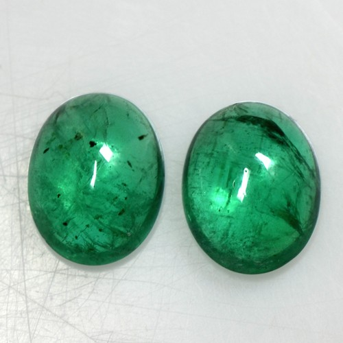 4.78 Cts Natural Green Emerald Loose Gemstone Oval Cabochon Pair 10x8 mm Zambia