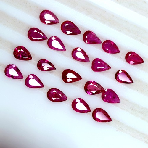 7.50 Cts Natural Top Blood Red Ruby Pear Cut Lot Burma 6x4 mm 20 Pcs Stunning