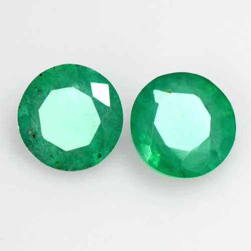0.94 Cts Natural Top Green Emerald Round Cut Pair Zambia Calibrated Loose 5 mm