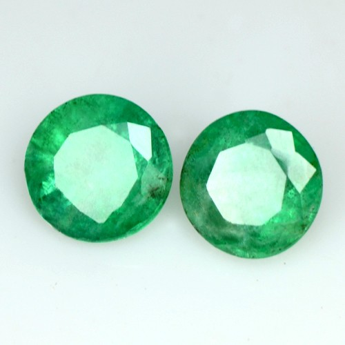 1.32 Cts Natural Green Emerald Round Cut Pair Zambia Calibrated 5.5 mm Gemstone