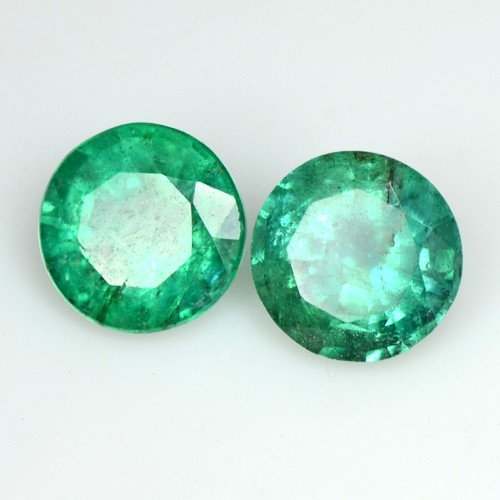1.78 Cts Natural Green Emerald Round Cut Pair Zambia Calibrated 6 mm Gemstone