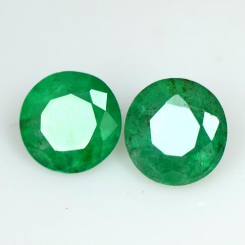 1.02 Cts Natural Green Emerald Round Cut Pair Zambia Calibrated 5.3 mm Gemstone