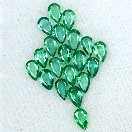 3.81 Cts Natural Top Green Lovely Emerald Pear Cut Lot 20 Pcs Untreated Zambia
