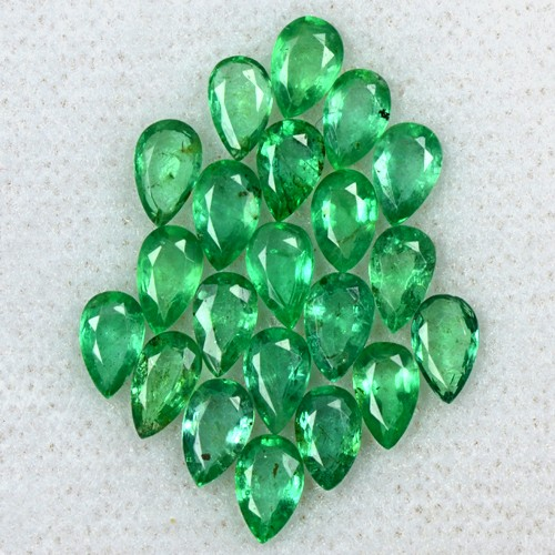 4.35 Cts Natural Top Green Lovely Emerald Pear Cut Lot 21 Pcs Untreated Zambia