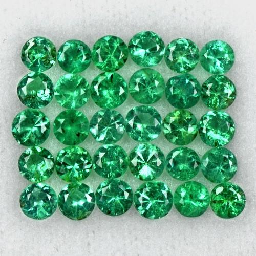 2.93 Cts Natural Top Green Emerald Diamond Round Cut Lot 30 Pcs Untreated Zambia
