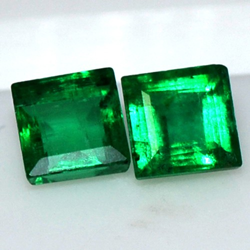 Natural Rich Green Emerald Gemstone 0.65 Cts Square Cut pair Untreated Zambia