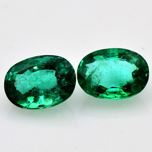 Rich Green Emerald 1.92 Cts Natural Fine Gemstone Oval Cut Pair Untreated Zambia