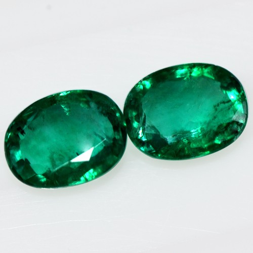 2.49 Cts Natural Super Gemstone Green Emerald Oval Cut Pair Untreated Zambia