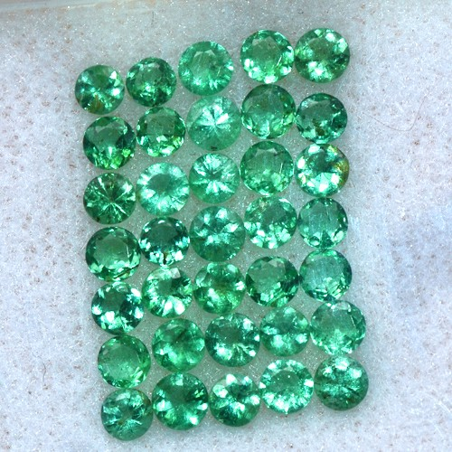 3.00 Cts Natural Green Emerald Diamond Round Cut 35 pcs 3 mm Untreated Zambia