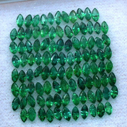 Marquise Cut Natural Green Emerald 7.56 Cts 100 pcs 4 x2 mm Untreated Zambia