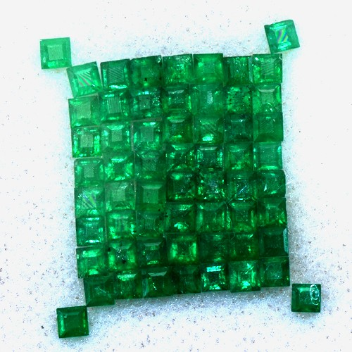 2.52 Cts Natural Quality Green Emerald Square Cut 60 pcs 2 mm Untreated Zambia