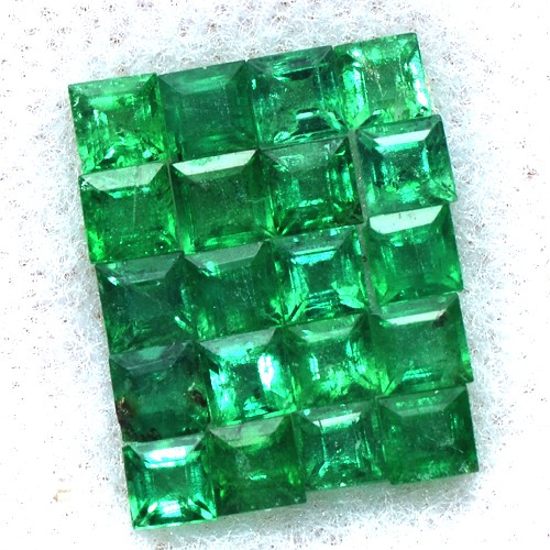 2.12 Cts Natural Quality Green Emerald Square Cut 20 pcs 2.5 mm Untreated Zambia