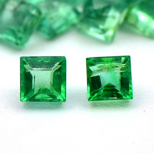 Natural Green Emerald 2.57 Cts AAA Grade Fine Quality Square Shape 60 Pcs Zambia