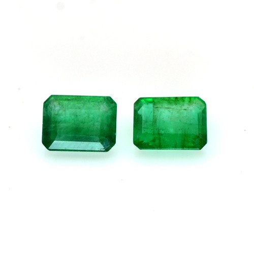 Natural Rich AAA Grade Green Emerald Gemstone 2 pc Octagon Pair 3.75 Cts Zambia