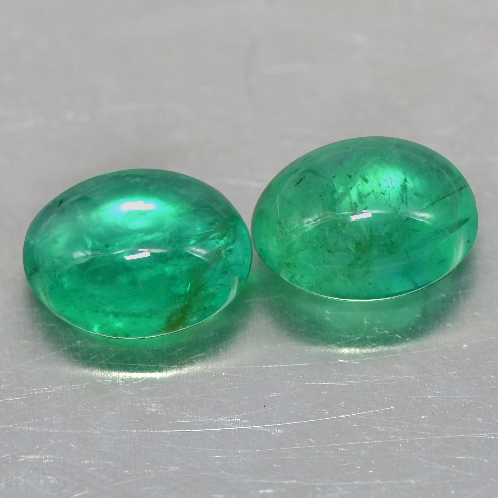6.80 cts Natural Top Emerald Oval Cabochon Pair 10.5x8x5.3 mm Zambia Gemstone