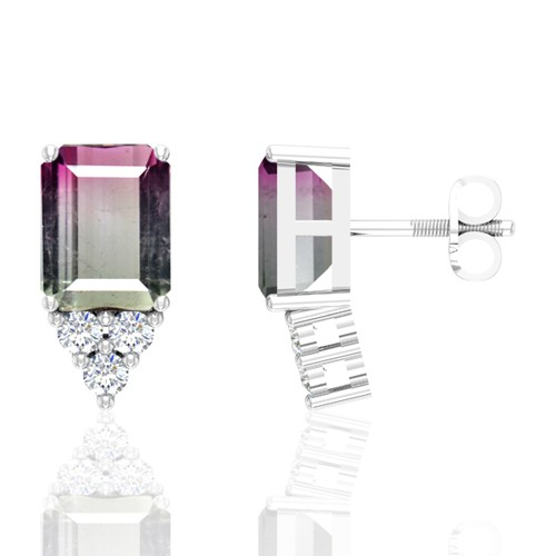 14K White Gold 4.75 cts Tourmaline Stone Diamond Designer Fine Jewelry Ladies Earrings